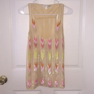 Trina Turk Sequin Sleeveless Silk Blouse